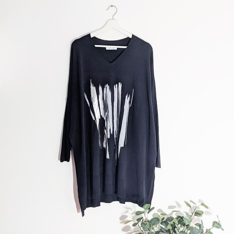 FINE KNIT JUMPER WITH BRUSH METALLIC PRINT