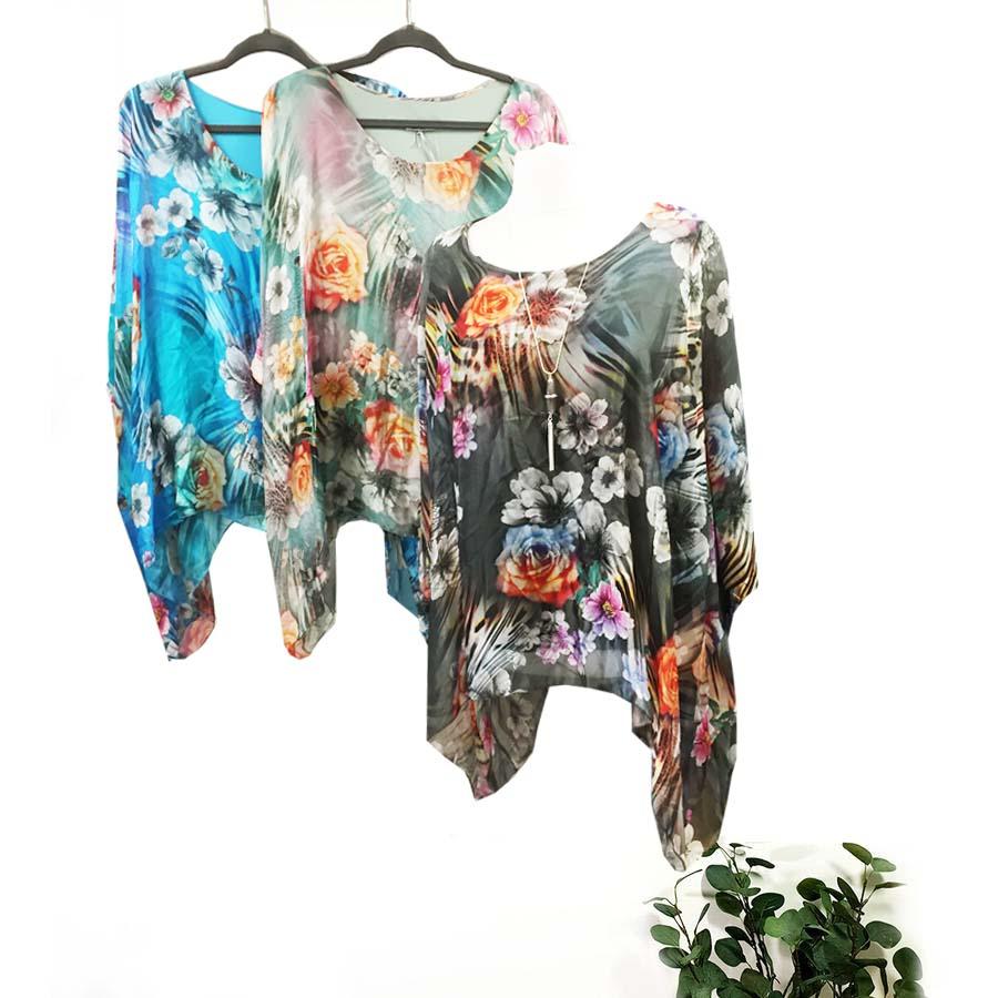 Flower Print Silk Top