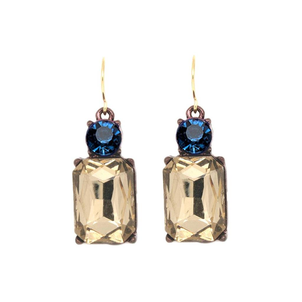 Simple gem earring smoke with blue
