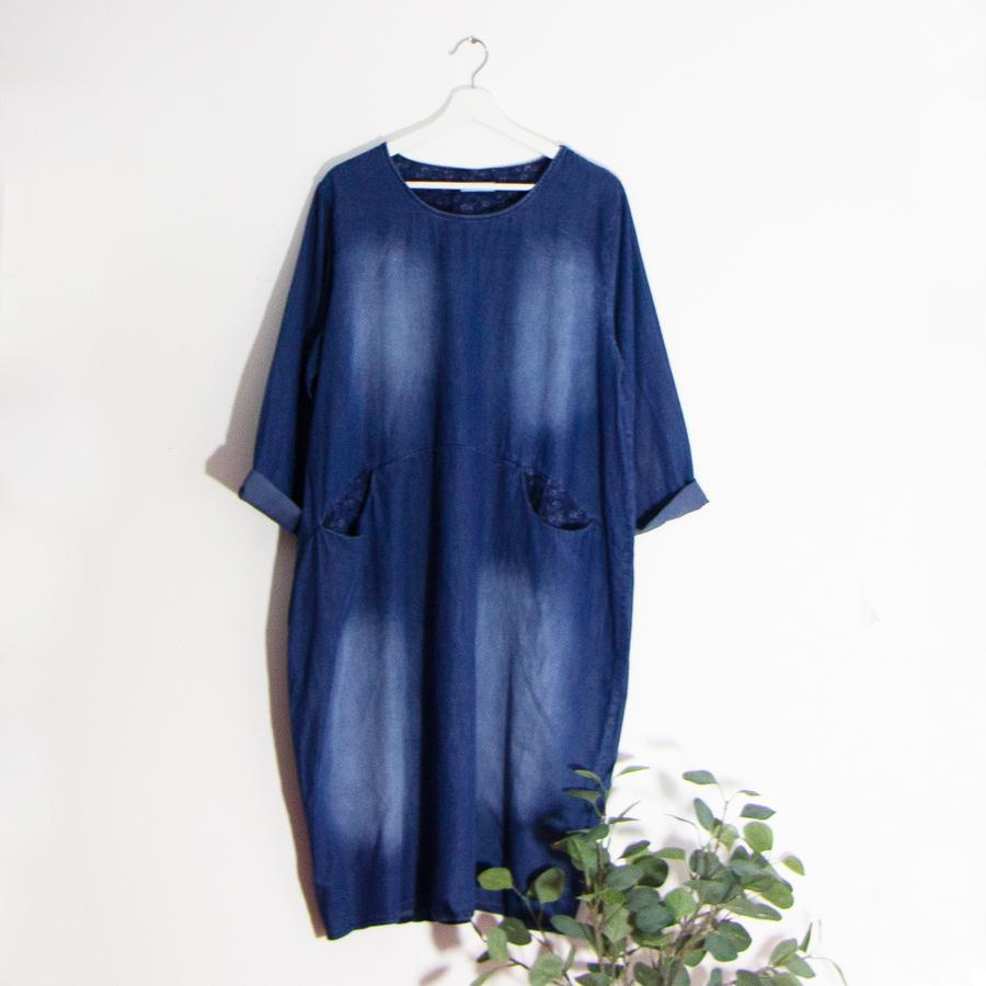 Washed Denim Style Dress With Front Pockets