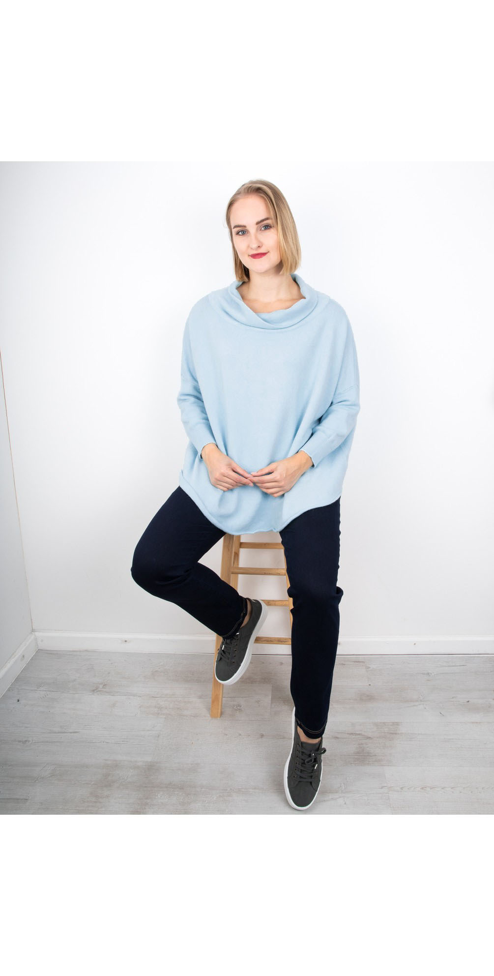Powder Blue - Vera Funnel Neck Sweater