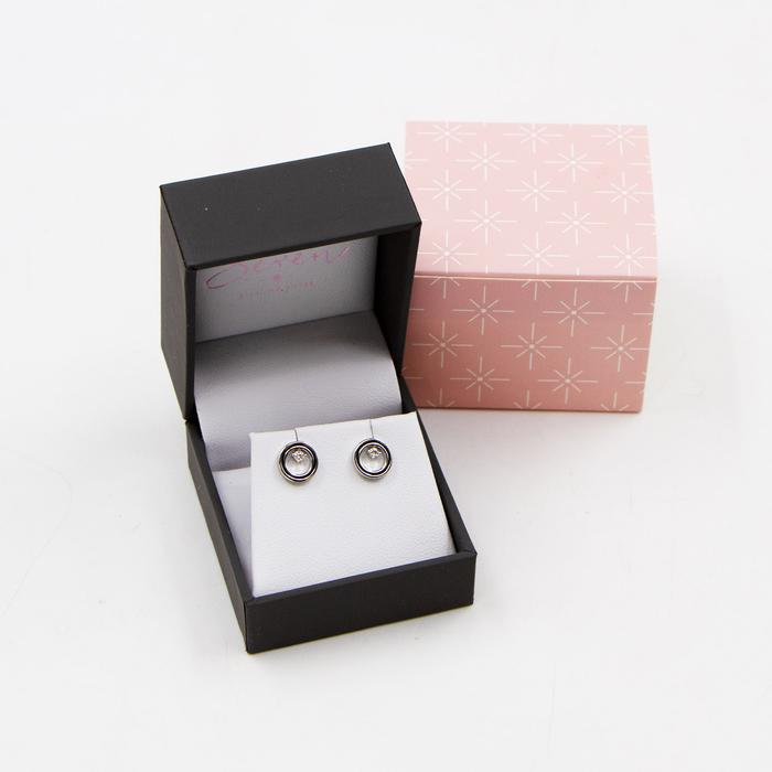 SEREN SILVER OPEN CIRCLE EARRINGS WITH CZ CRYSTAL