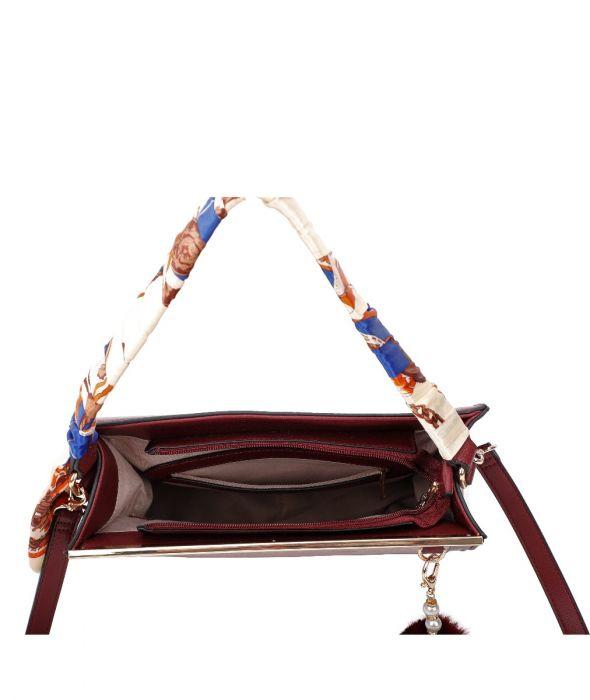 Scarf Handle Embossed Bag With detachable Shoulder Strap
