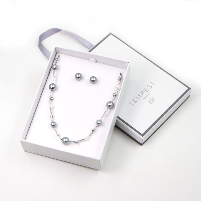 SIMPLE PEARL NECKLACE AND EARRING SET WITH MINI TUBE SPACER