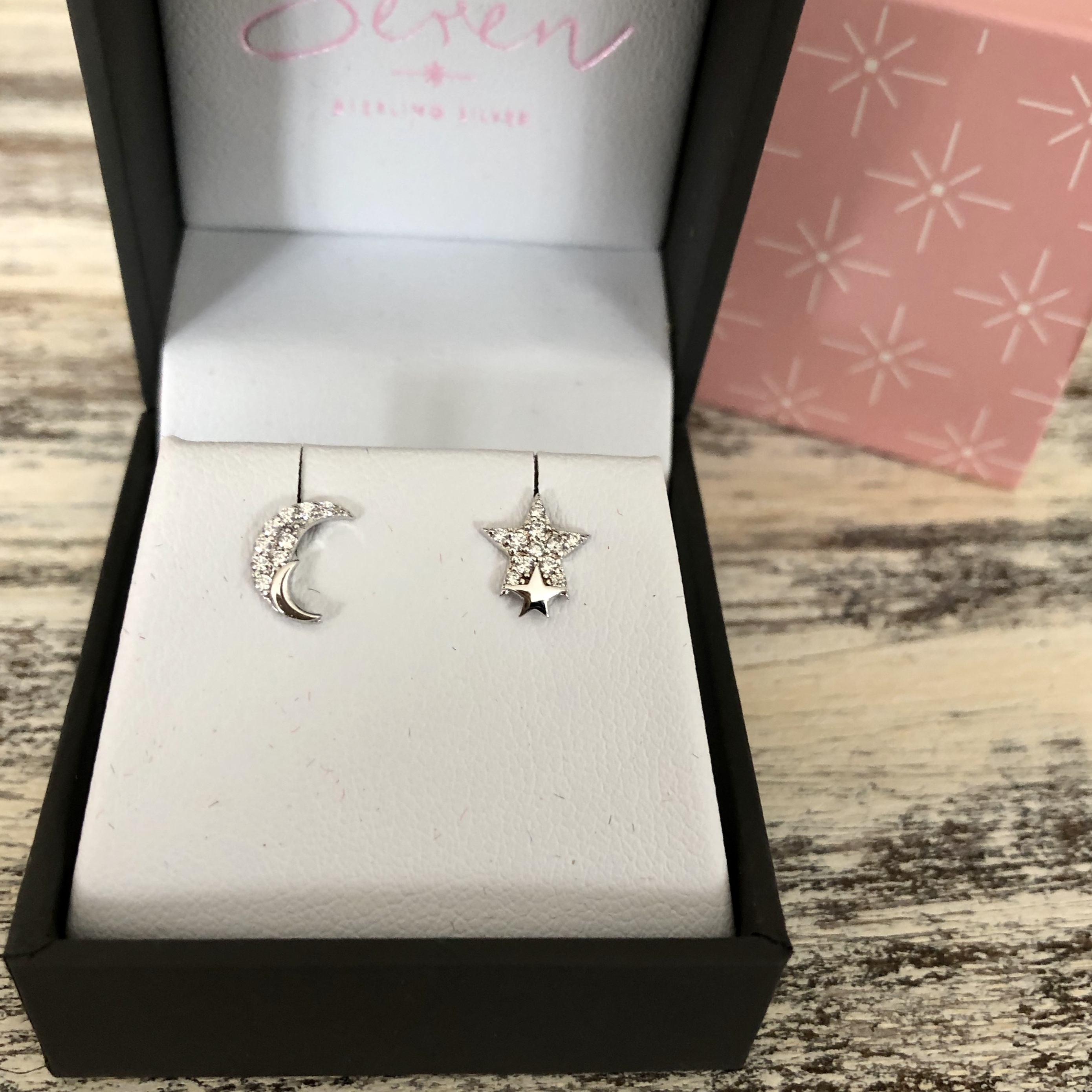 925 SILVER STAR & MOON WITH CZ STONE STUD EARINGS