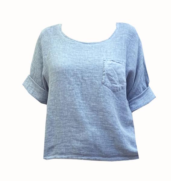 Hessian Style Linen Pocket Top