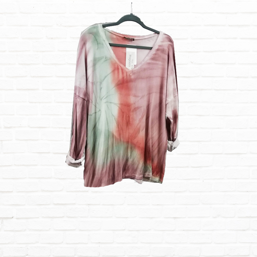 SALE WAS £38 NOW £15 Tie Dye V Neck Cotton Top