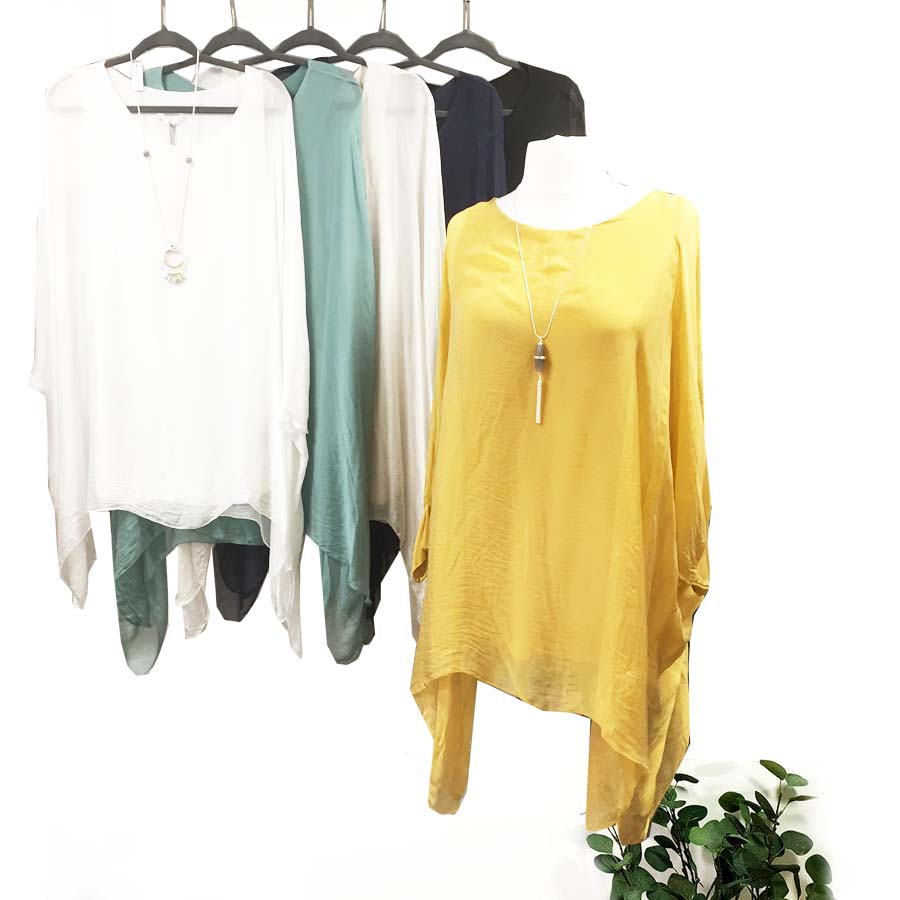 Long Pure Silk Top With Soft Jersey