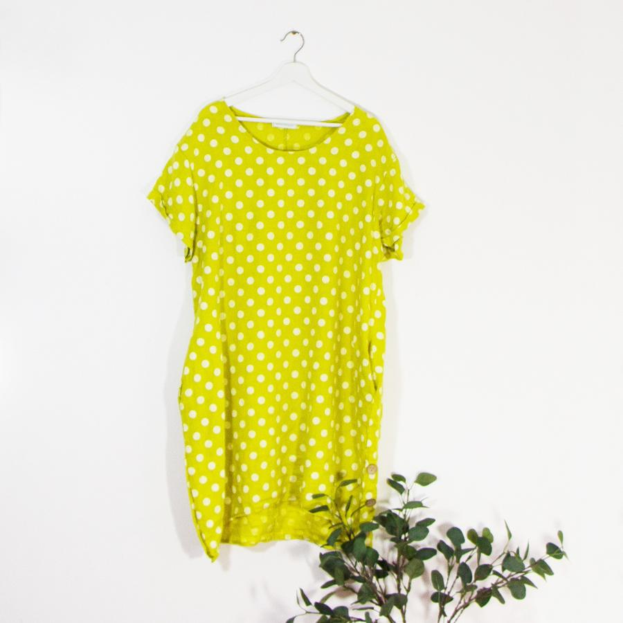 Spotted Pure Linen Dress Sarah Tempest Designs