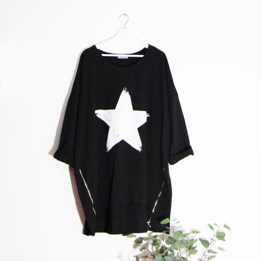 Zip Front Star Motif Top