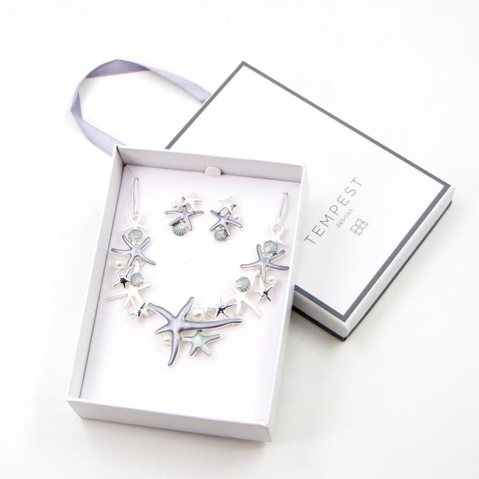 MULTI ENAMEL STARFISH NECKLACE SET