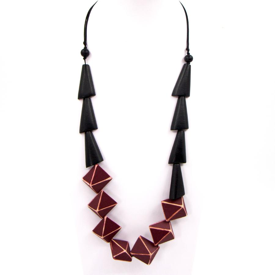 GEOMETRIC WOOD SHAPE CONTEMPORARY BEADED NECKLACE
