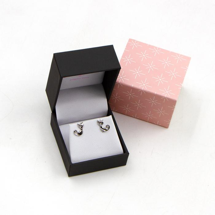 SEREN SILVER LITTLE CATS STUD EARRINGS