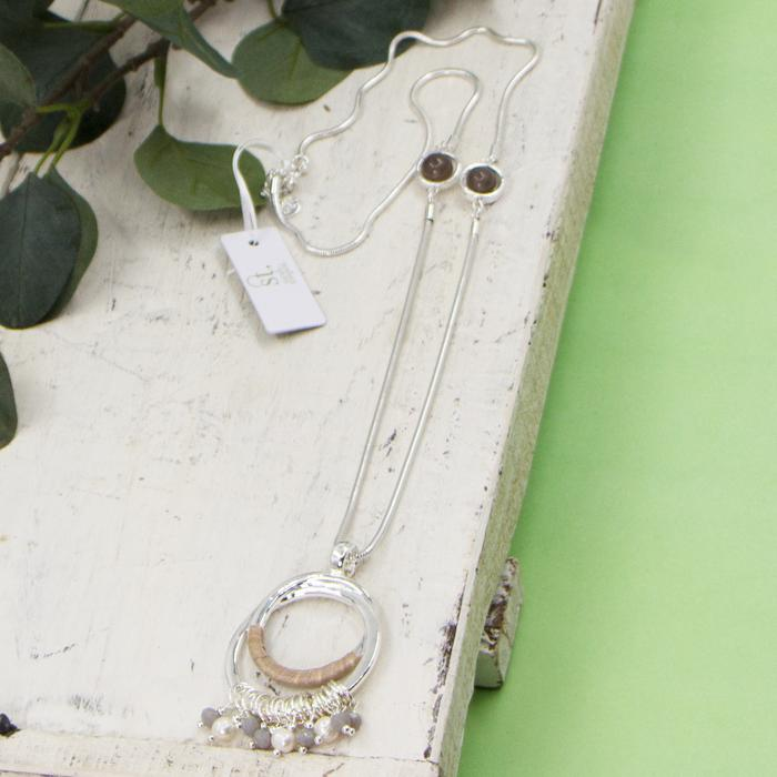 SARAH TEMPEST OPEN CIRCLE PENDANT WITH GREY AGATE BEADS LONG NECKLACE