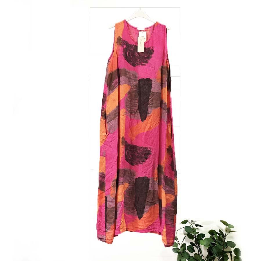 Abstract Linen Dress