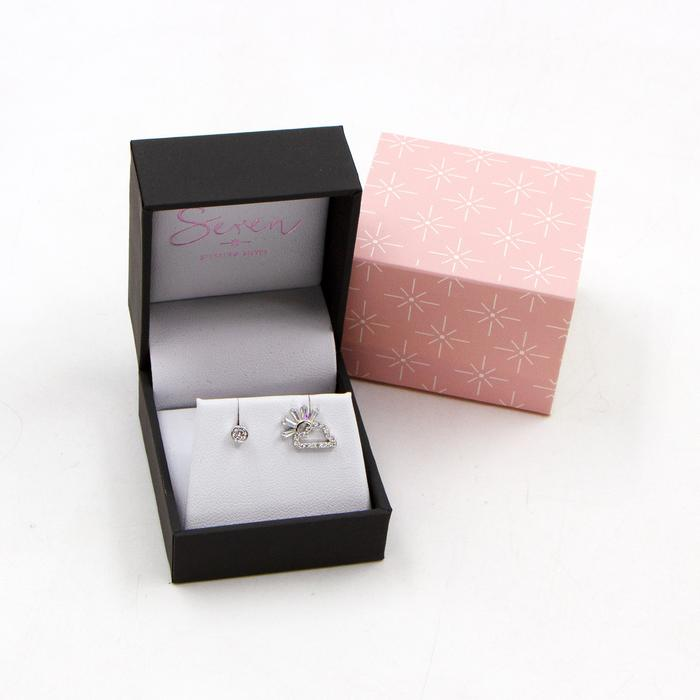 SEREN SILVER CZ CLOUD AND SUNSHINE STUD EARRINGS