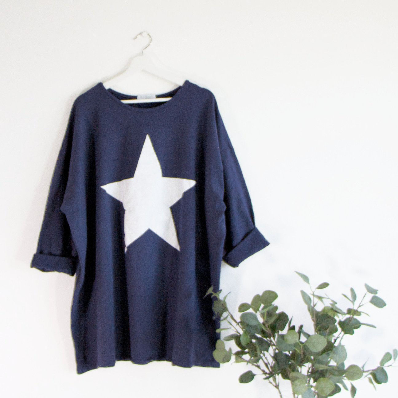 SALE WAS £30 NOW £20 LONGLINE COTTON SWEATSHIRT WITH STAR MOTIF