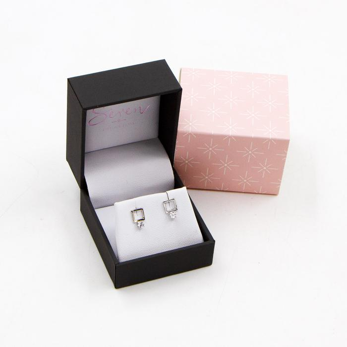SEREN SILVER OPEN SQUARE STUD EARRINGS WITH CZ STONE