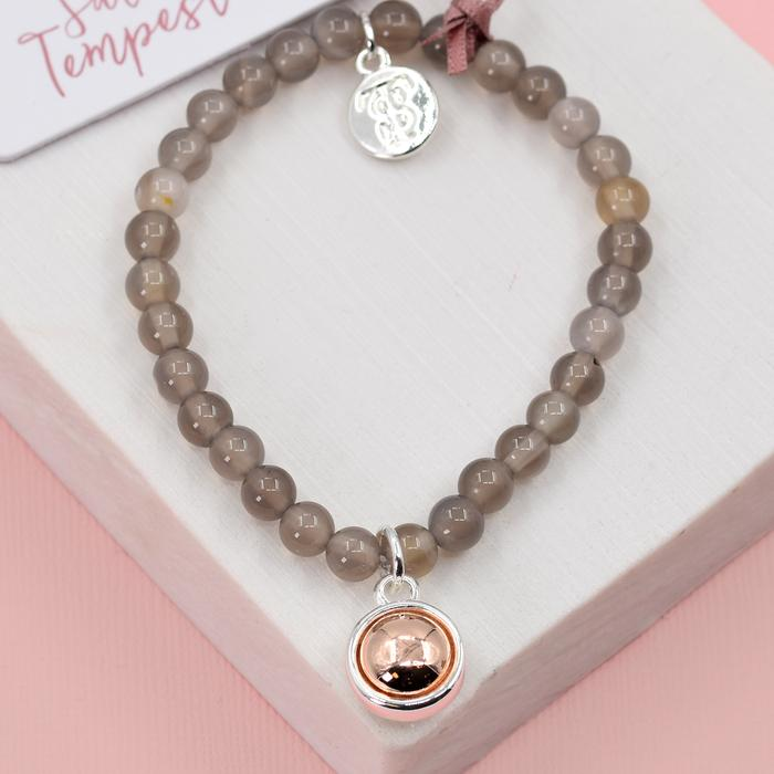 GREY AGATE STONE CHARM BEADED STRETCHY BRACELET