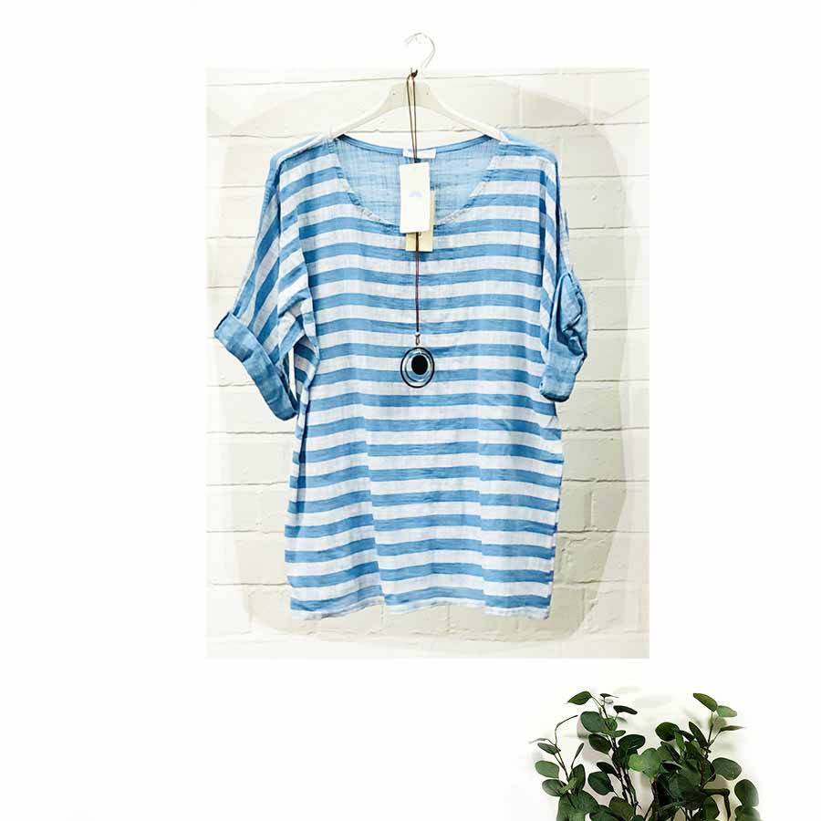 Stripe Top in Pure Cotton Linen Blend