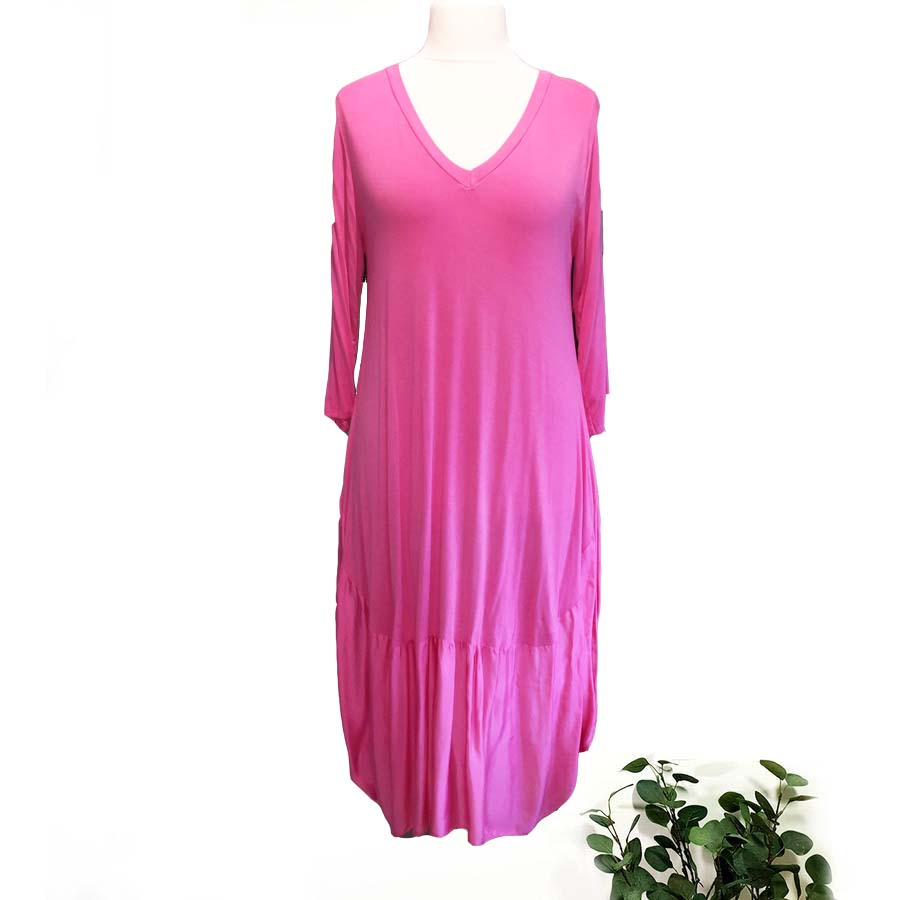 Stretch Dress & Silk Panel In Colours