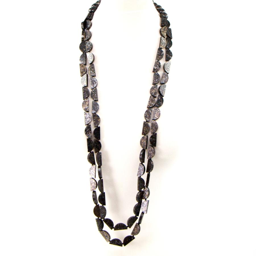 SEMI CIRCLE LONG WOODEN BEADED NECKLACE