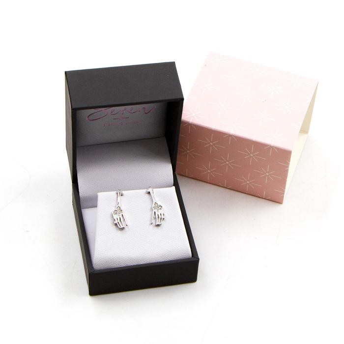 SEREN SILVER GIRAFFE STUD EARRINGS