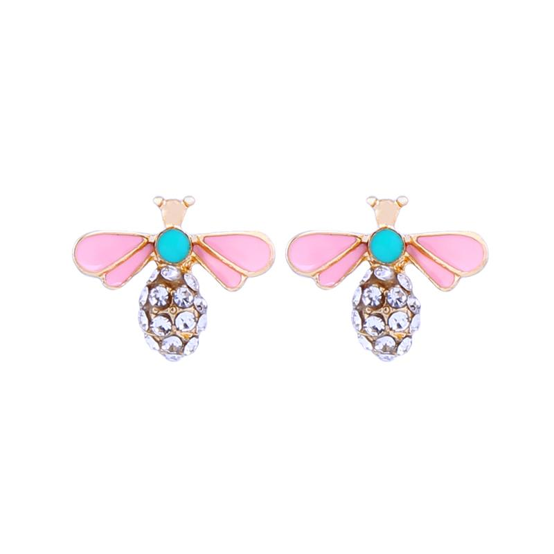 Crystal bee earring pink & mint