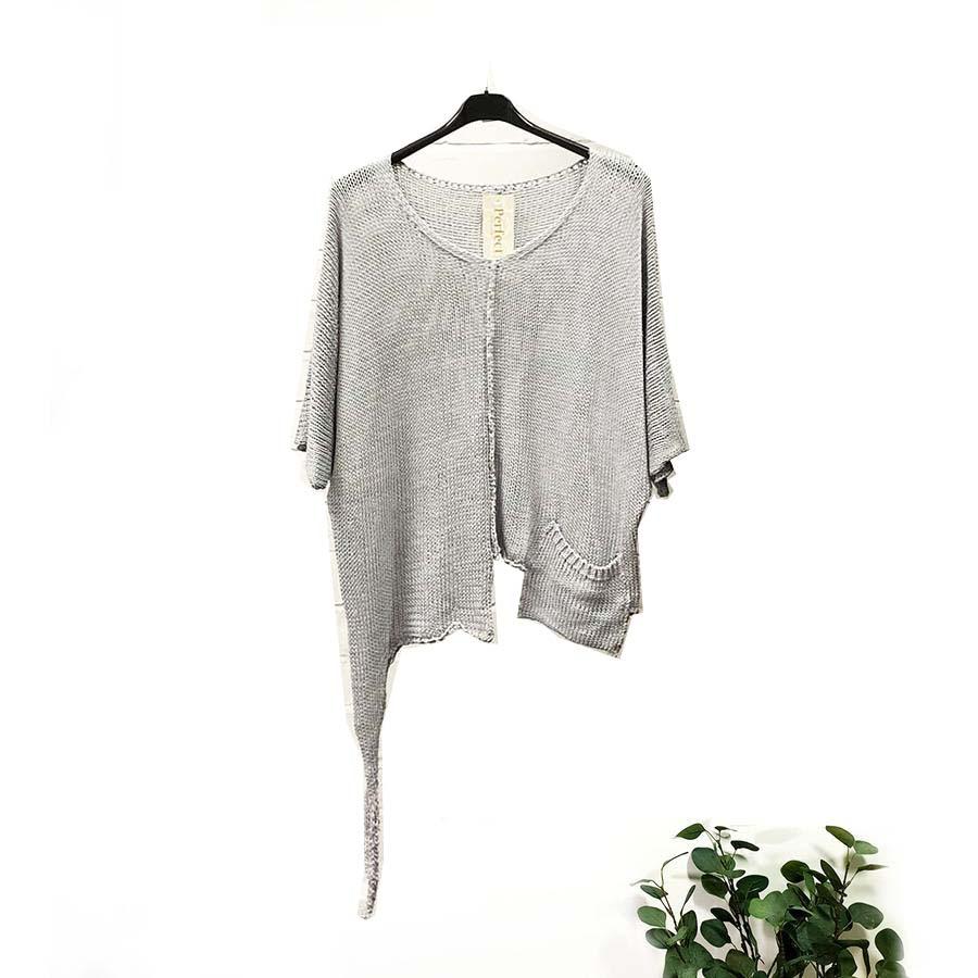 Cotton Loose Knit With Pocket & Hem Detail