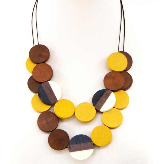 DOUBLE LAYER CONTEMPORARY WOOD DISC NECKLACE WITH FUSED RESIN ACCENTS