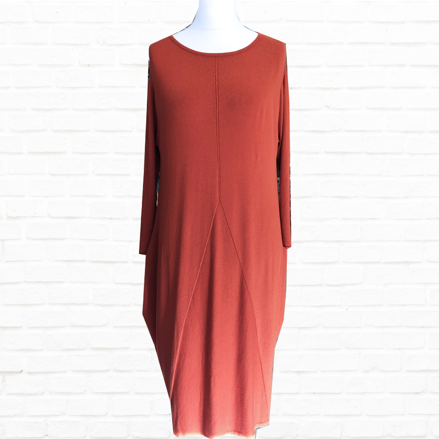 SALE WAS £60 NOW £25 Fine Knit Dress With Detail in A Choice - Winter White Or Burnt Orange