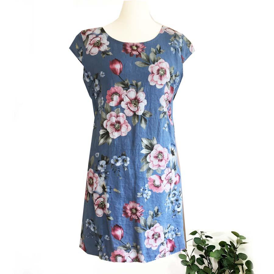 Linen Dress With Floral Print Colours