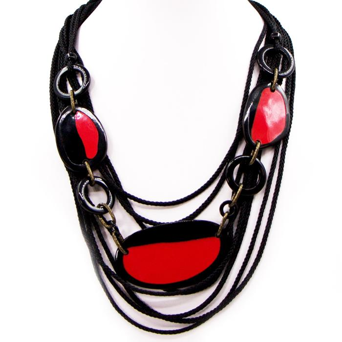 RED AND BLACK RESIN MULTI STRAND STATEMENT NECKLACE