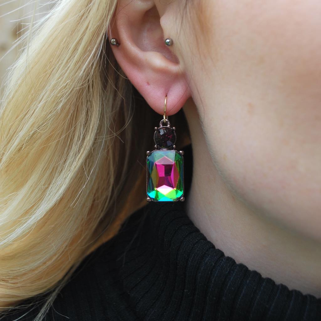 Simple gem earring dark rainbow with burgundy