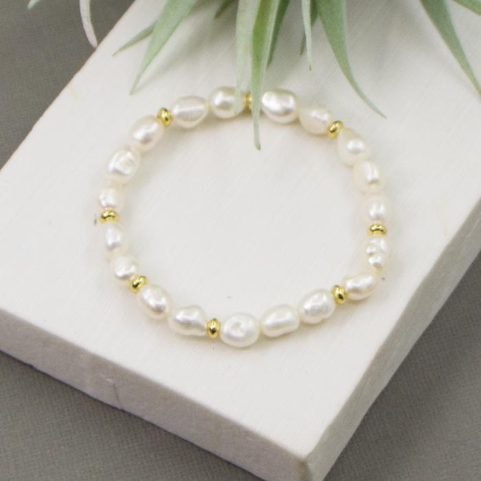 REAL PEARL BEADED BRACELET WITH GOLD SPACERS