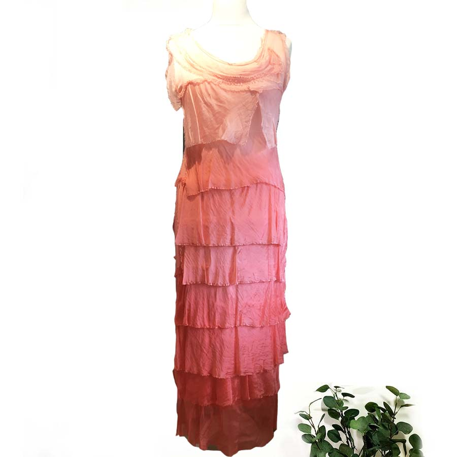 Dip Dyed Silk & Stretch Jersey Ruffle Dress