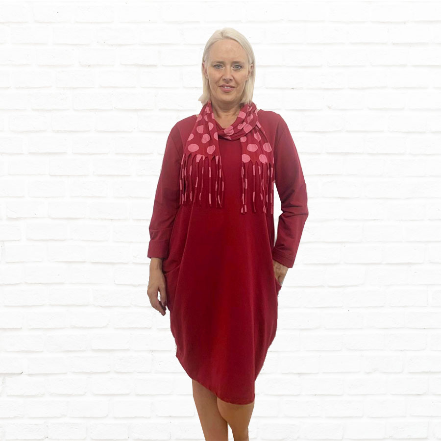 SALE WAS £33 NOW £18 Jersey Dress With Spot Scarf