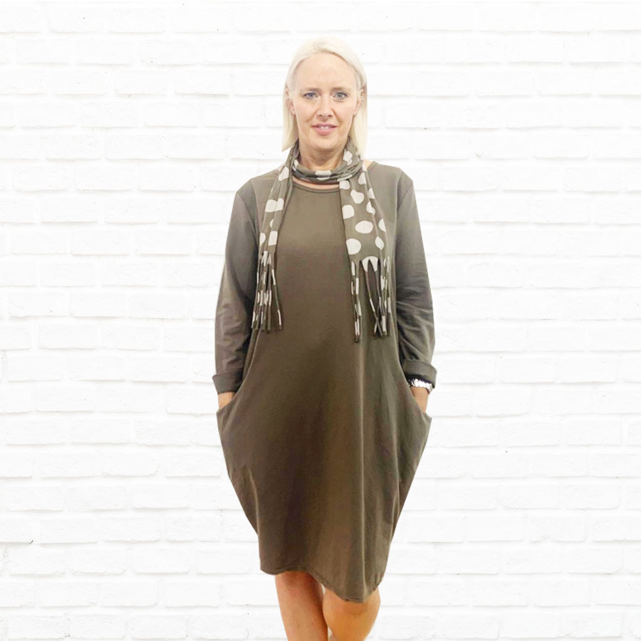 SALE WAS £33 NOW £20 Jersey Dress With Spot Scarf