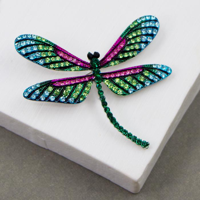DRAGONFLY BROOCH WITH COLOURFUL CRYSTALS