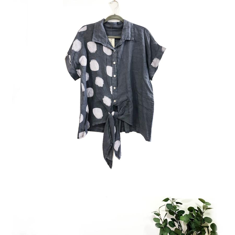 Half Spot Linen Shirt