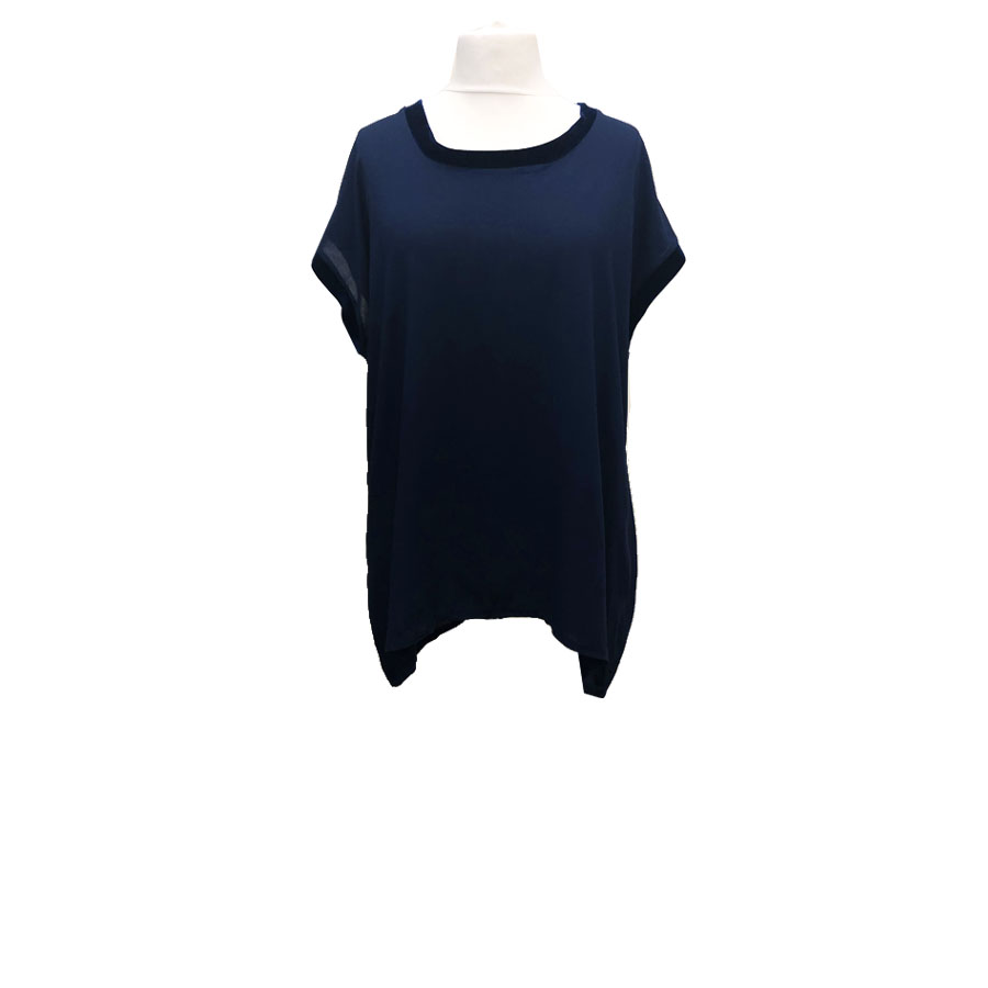 Navy Velvet Tipped Top