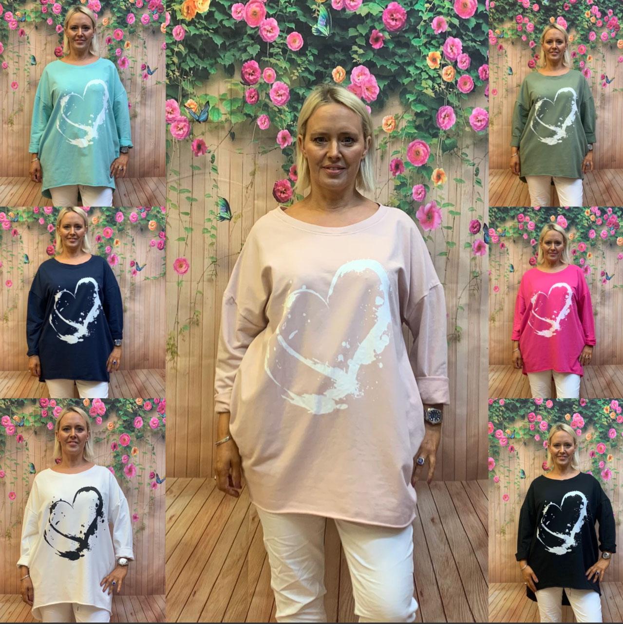 Heart Cotton Long Sweatshirt