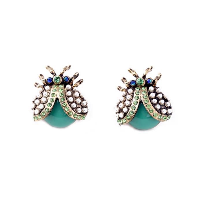 Pearl & crystal ladybird earring bright mint