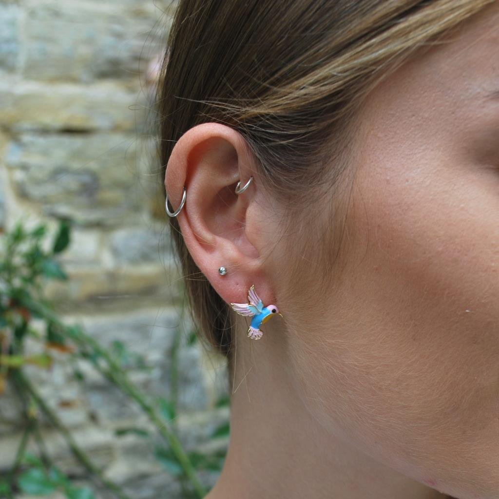 Hummingbird earring pink & blue