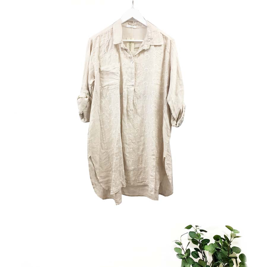 Long Linen Shirt With Embroidery