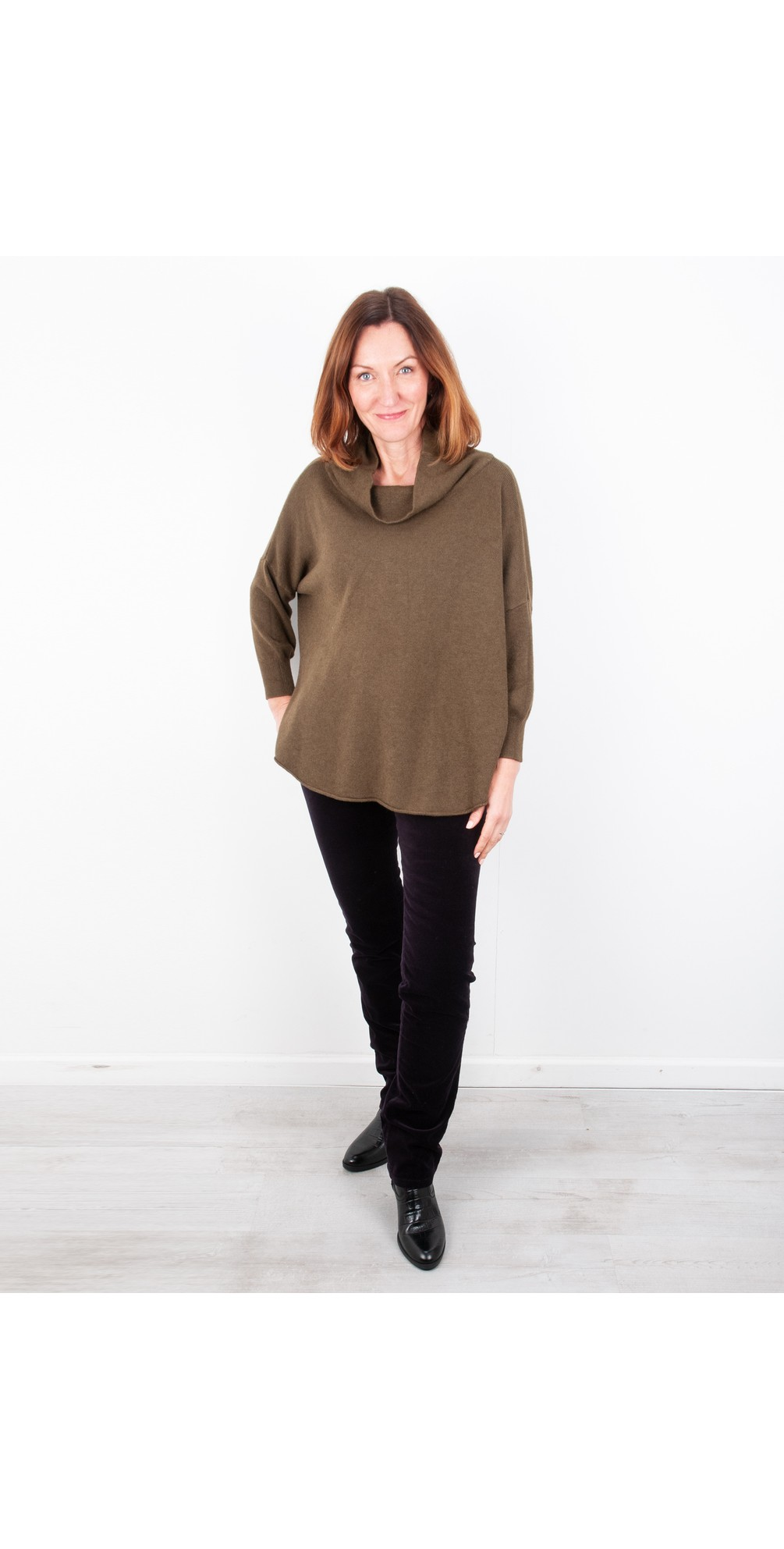 Khaki - Vera Funnel neck Sweater