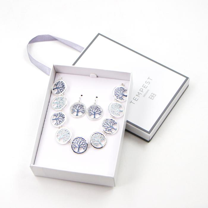 TREE OF LIFE ENAMEL NECKLACE & EARRINGS SET