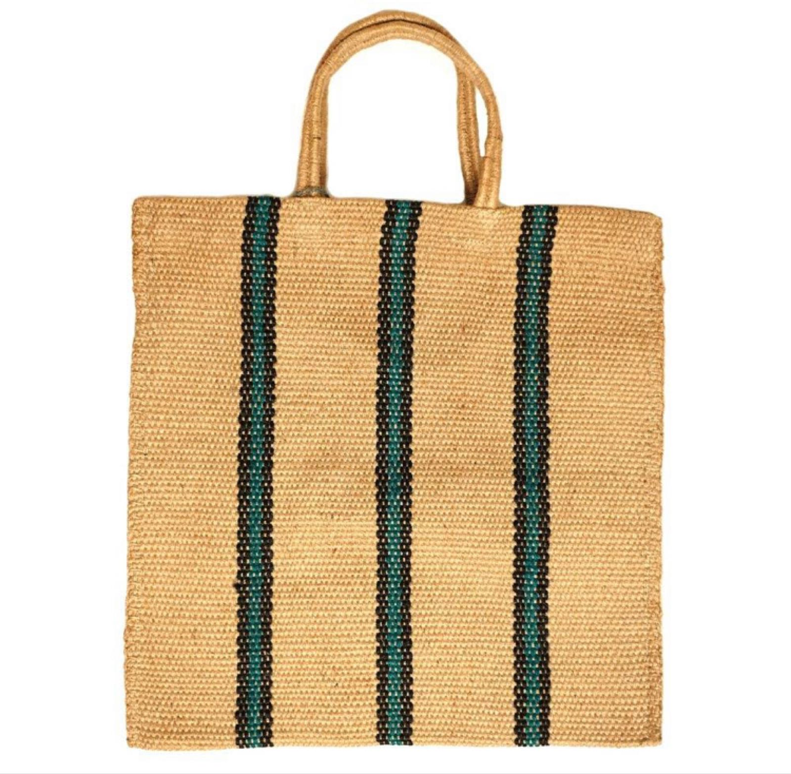 Green Stripe Jute Bag