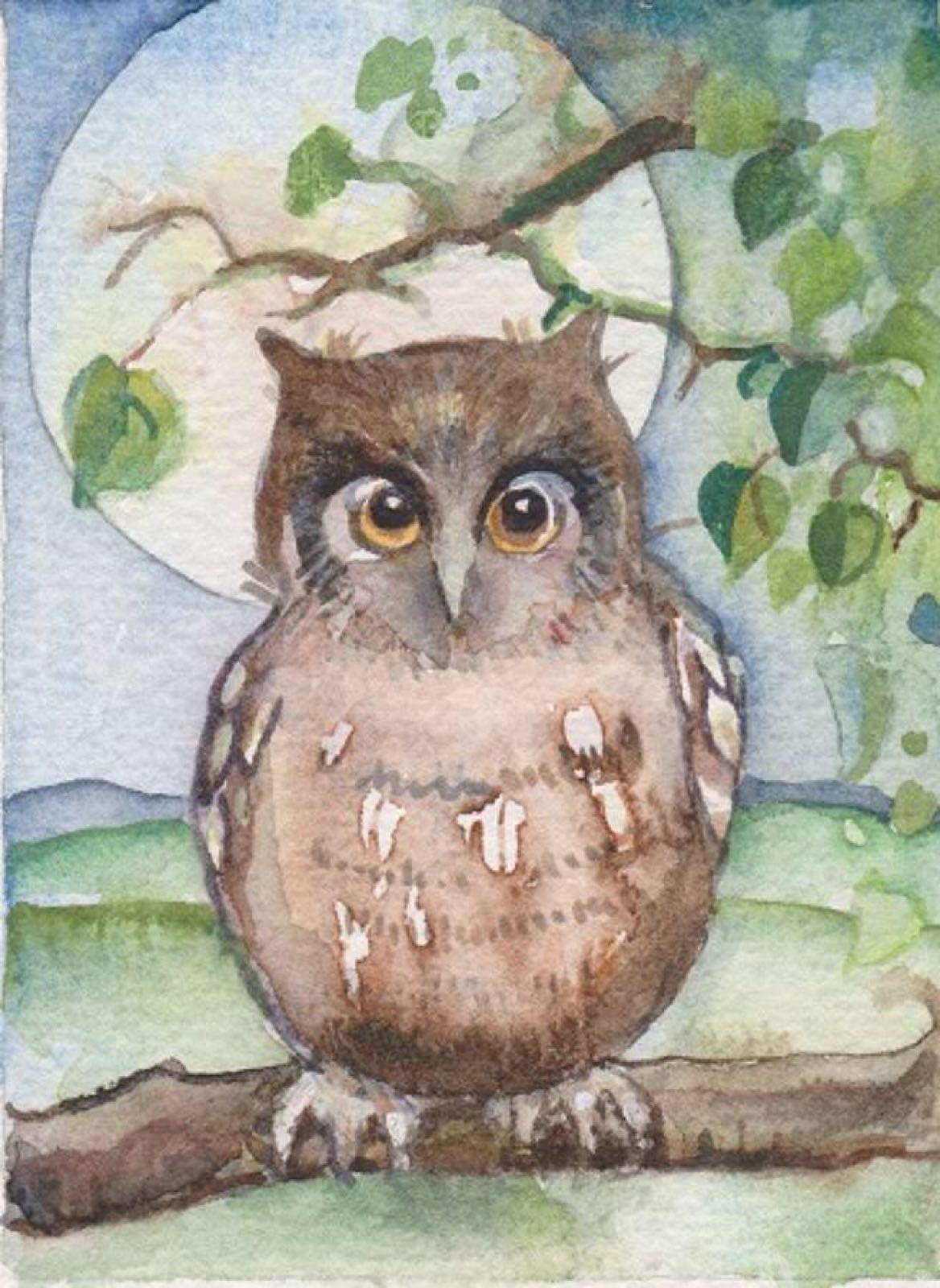 'Owl & Moon' Furzedown Gallery Mini Card