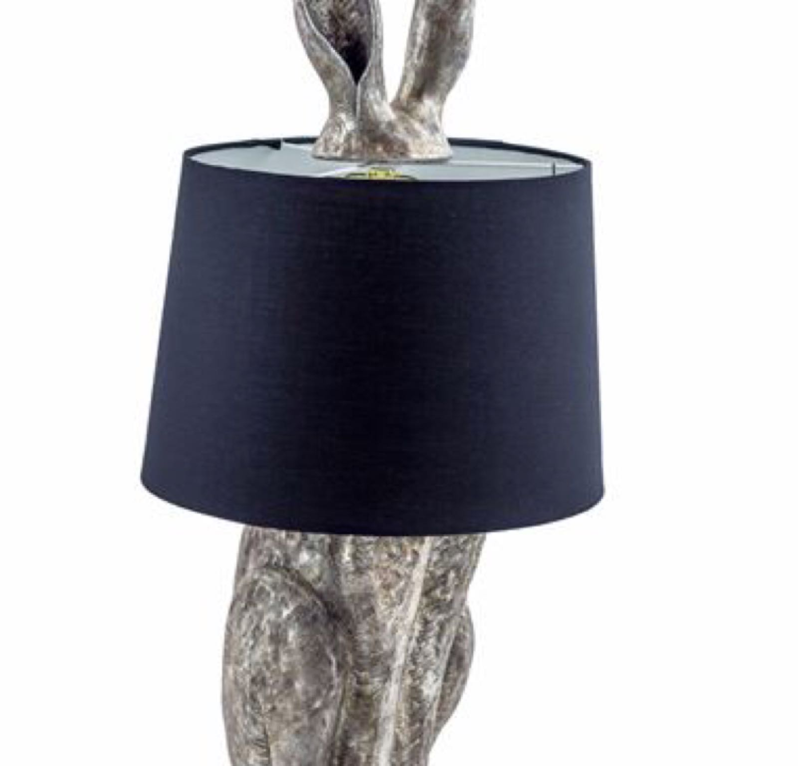 Antique Silver Hare Lamp with Black shade TL78 74cm x 32 cm